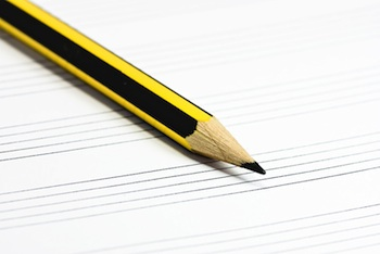 music staff paper and pencil