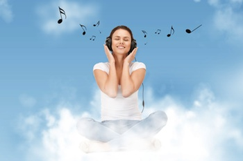 Happy person listening to music