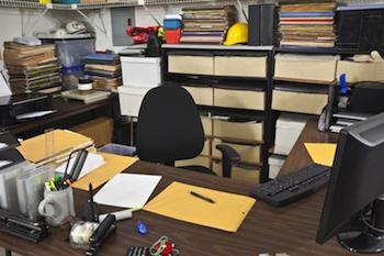 Cluttered songwriter's desk