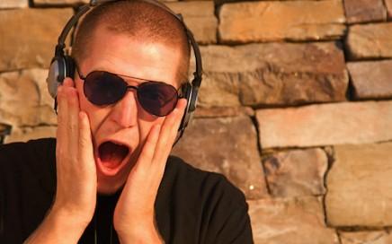 Listener with headphones
