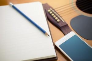 Guitar, paper & pencil, smartphone