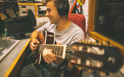 Singer-Songwriter in Recording Studio