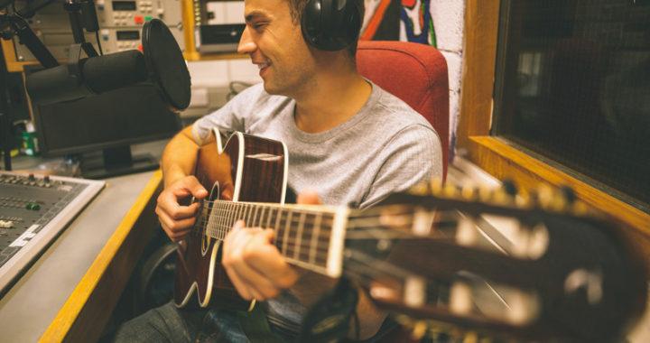 Singer-Songwriter in Recording Studio