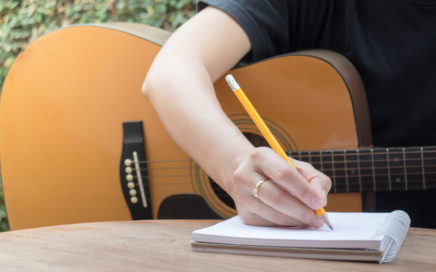 Songwriter writing lyrics