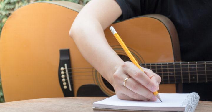 Songwriter writing lyrics